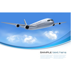 Travel background with airplane and white clouds vector