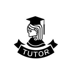 Tutor logo with graduated school girl vector