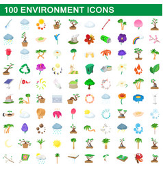 100 environment icons set cartoon style vector image
