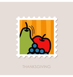 Apple grapes and pear stamp thanksgiving vector