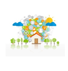 Business concept with Home and cloud of vector image