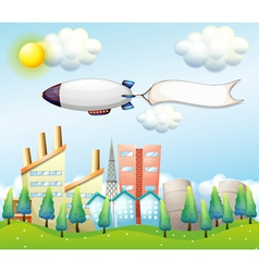 An airship with an empty banner above the high vector image