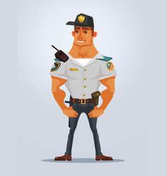 Happy smiling strong muscular policeman character vector