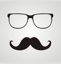 retro hipster mustache and glasses symbol vector image