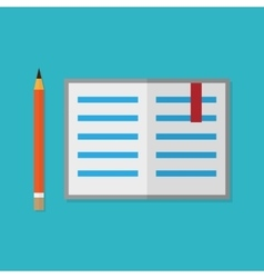 Flat style pencil and opened book vector
