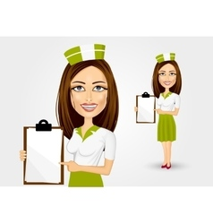 Beautiful waitress pointing to menu vector