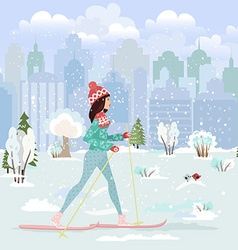 Happy young woman cross country skiing in city vector
