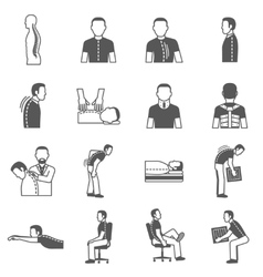 Spine diseases black icons vector