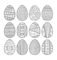 Set of black and white easter eggs for coloring vector