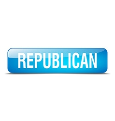 Republican blue square 3d realistic isolated web vector