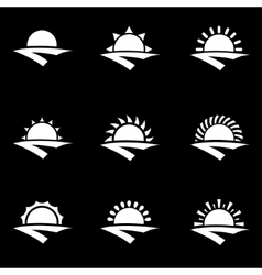 White sunrise icon set vector