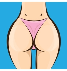Sexy woman big booty girl in a pink bikini vector