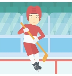 Ice hockey player with stick vector
