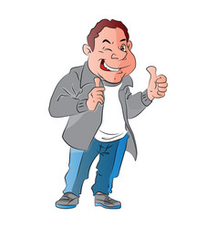 a happy man giving thumbs up gesture vector image vector image