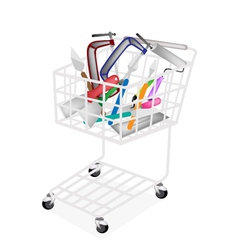 A set of builder tools in shopping cart vector