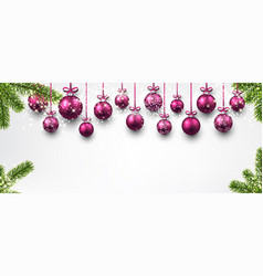 Banner with pink christmas balls vector