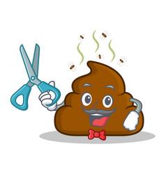 Barber poop emoticon character cartoon vector
