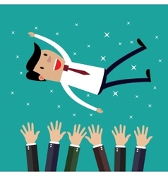 Businessman get thrown into the air by coworkers vector