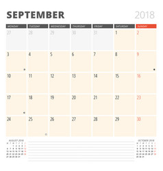 Calendar planner for september 2018 design vector