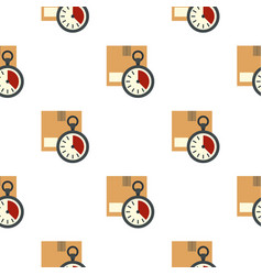 Cardboard box with stopwatch pattern flat vector