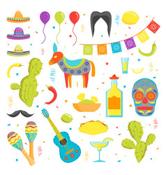 cartoon symbol of mexico color icons set vector image vector image