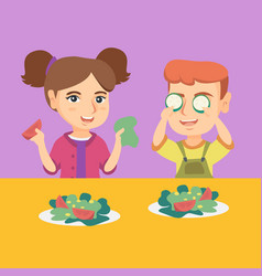 caucasian boy and girl playing with vegetables vector image