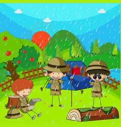 Children camping out on rainy day vector