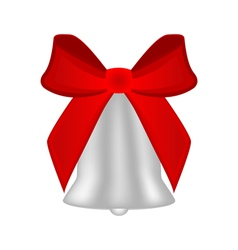 Christmas silver bell with red bow vector