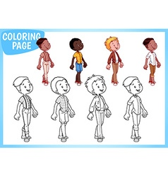 Coloring Page Four boys in stylish outfits vector image