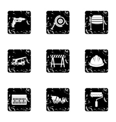 Construction tools icons set grunge style vector