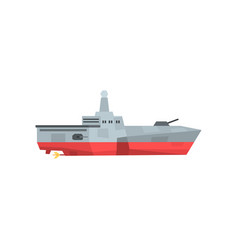 dangerous war boat with cannon and radar military vector image
