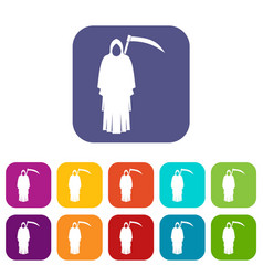 Death with scythe icons set flat vector
