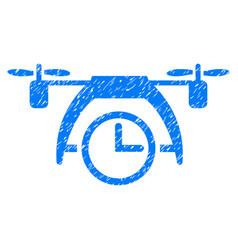 Drone clock grunge icon vector
