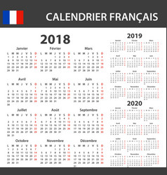 French calendar for 2018 2019 and 2020 scheduler vector