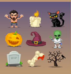 funny halloween icons-set 4 vector image vector image
