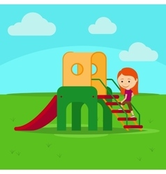 Girl on playground vector image