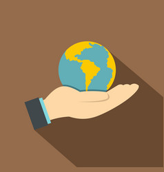Hand holding globe icon flat style vector