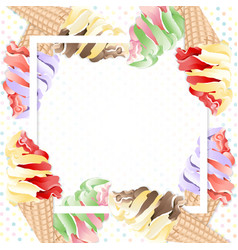 Ice cream cones on frame vector