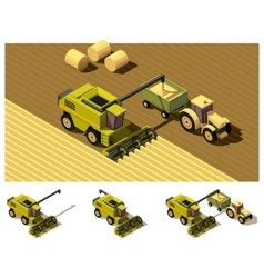 isometric low poly combine harvester mowing vector image
