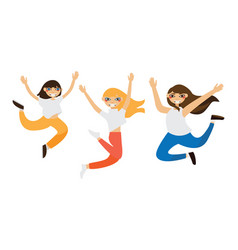 lovely girls jumping in flat style isolated on vector image vector image