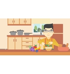 Man cooking vegetable salad vector