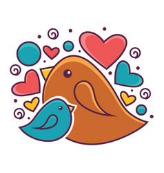 mother and baby bird detailed vector image vector image