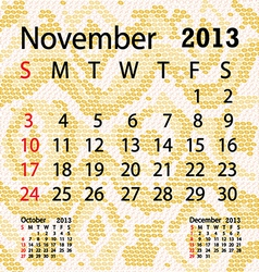 november 2013 calendar albino snake skin vector image