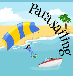 Parasailing water extreme sports backgrounds vector