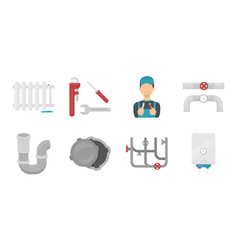 Plumbing fitting icons in set collection for vector