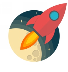 Rocket and the moon vector image