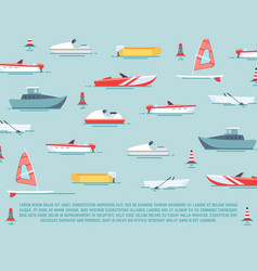 Sea transport poster design - boats and ships vector