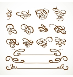 Set calligraphic symmetrical and asymmetrical vector image vector image