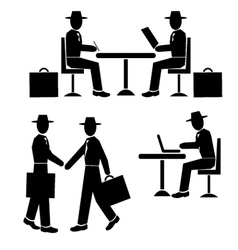 Silhouette businessman at work vector image vector image