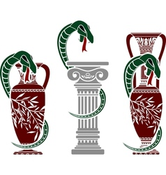 snakes with jugs vector image vector image
